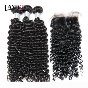 Brazilian Peruvian Malaysian Indian Cambodian Mongolian Curly Virgin Hair Weave 3 Bundles with Lace Closures Deep Curly Mink Remy Human Hair