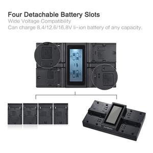Kostenloser Versand EN-EL15 NP-F970 4-Kanal-LCD-Digitalkamera-Batterieladegerät für Nikon D500 D610 D7100 usw. Sony NP-F550 F750 F950 usw