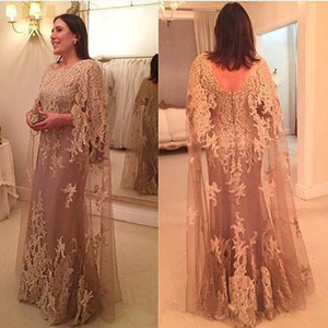 Elegant Crew Neck Lace Long Mother's Dresses Capped Tulle Applique Wedding Guest Floor Length Mother Of the Bride Dresses BC2072