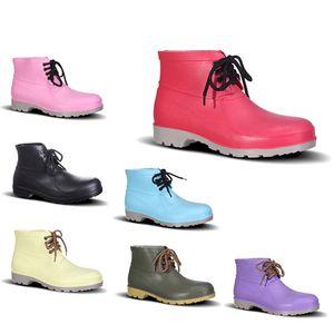 Impermeabile in PVC Rain Boots Assicurazione Low Lavoro Scarpe Acciaio Toe Cap Nero Rosa Giallo Rosso Viola Verde scuro Men Shoes 38-44