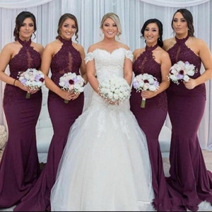 2020 Yeni Burgonya Halter Dantel Gelinlik Modelleri Anahtar Deliği Şeffaf Boyun Custom Made Mermaid Wedding Guest Önlük Vestido Gadern Düğün 4627