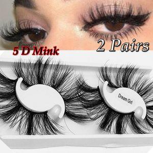 2 pares longos e grossos 25MM Lashes 5D Mink cabelo cílios postiços dramáticos Fios Fofo Faixa completa Lashes Handmade Eye Makeup Tools
