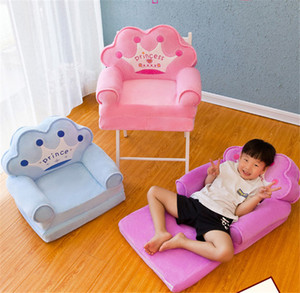 Baby Kids Cartoon Crown Seat Plush Toy stools Mat Children Backrest Chair Neat Toddler Boy Girl Foldable Sofa Best Gifts