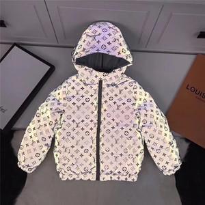 Recém-Jacket inverno dos miúdos B1015224T luxo do bebé da menina roupa menina Meninos Waterproof Snowsuit Gold Silver baixo Jacekts Crianças Parka com capuz