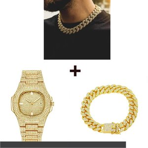 Gold Watch+ Necklace+ Bracelet Hip Hop Miami Curb Cuban Chain Bling Iced Out Paved Rhinestones CZ Rapper For Men Jewelry Set