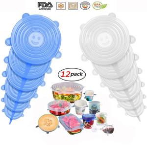 Estiramiento de silicona tapas, comida Covers Set, reutilizable Wrap de silicona resistente para cuencos, Paquete de 12 expansible y tapas de comida sello de silicona
