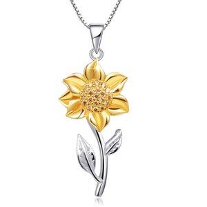 Moda 925 Gümüş Kaplama Ayçiçeği gerdanlık Chunkry kolye kolye Womens Düğün Nişan Parti Takı Aksesuar