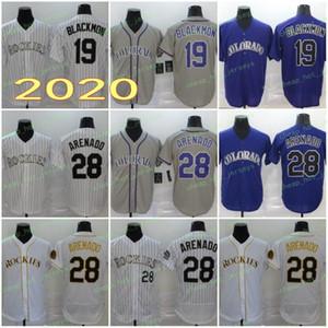 2020 Männer Hot 28 Arenado Jerseys 19 Blackmon 27 Geschichte Baseball-Shirts Lila Weiß Grau Flexbasis Coolbase Start Straße Hemd Genähtes