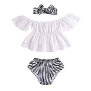 Ins новорожденного ребенка одежда для девочек Детский костюм луки детские повязки на голову + топы + шорты