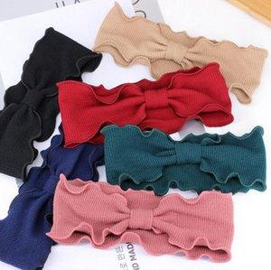 Mulheres Knitted Bow Knot Headband Cor Sólida Crochet Turbante Arco Faixa de Cabelo de Inverno Ouvido Quente Headband