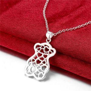venda quente Urso pêssego coração das mulheres placa de prata esterlina, moda pingente de prata 925 Colar com correntes GN770