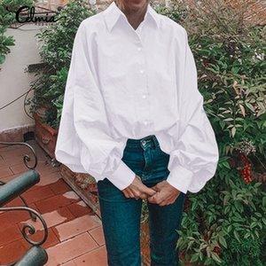 Elegante Trabalho de escritório Mulheres Blusa 2020 Celmia Plus Size sólido Túnica Top Casual solta shirt Luva longa das senhoras atado Blusas 5XL T200628