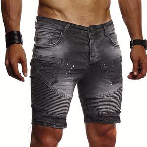 Estilo de moda para hombre del agujero Jean Shorts Solid color de los pantalones vaqueros para hombre delgado de Jean con la cremallera pantalones vaqueros Nuevas