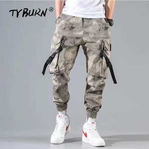 TYBURN New 2019 Casual Joggers Pants Hommes Coton Élastique Long Haren Pantalon pantalon homme Camo Army Cargo Pants Hommes