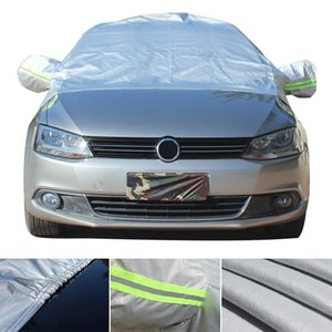 Universal Half Body Cotton Velvet Four Seasons Uv  Ice  Snow Protector Dustproof Car Clothing Cover With Reflective Strip Hook Cea _502