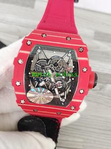 Luxry Nuovo RM35-02 KV scheletro quadrante in fibra Carbon Red NTPT caso del modello giapponese Miyota automatico 50 millimetri RM 35-02 Mens Watch nylon rosso cinturino