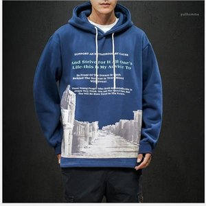 Print Hoodies Male Clothing Mens 2020 Luxury Designer Clothes Loose Hooded Thickened Sweater Pullover Crew Neck