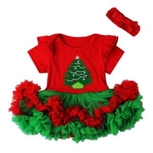 신생아 아기 유아 소녀 1 크리스마스 의상 투투 복장 세트 Romper Santa Claus Headband Outfits