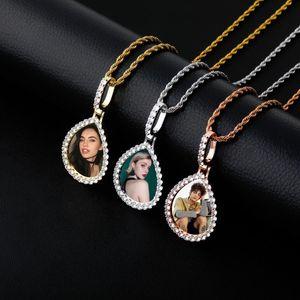 Personalisierte Foto Medaillon-Speicher-Bilderrahmen-Wasser-Tropfen-Form-hängende Kette Individuelle Bild-Halskette