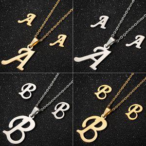 Jisensp Inicial de acero inoxidable Collar con letras Colgante para mujer Conjunto de joyas personalizadas Pendientes del alfabeto Regalo de cumpleaños para niñas