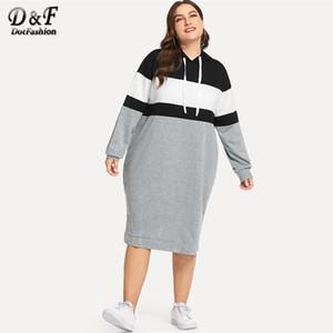 Dotfashion Plus Size Colorblock Kordelzug Kapuze Sweatshirt Kleider der Frauen Herbst 2018 Kleidung Langarm knielangen Kleid
