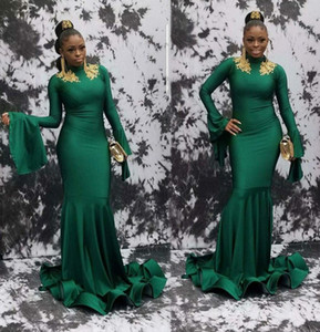 2020 Green African Long Evening Gowns Mermaid Elastic Satin With Gold Lace Prom Dress Lace Appliques White Party Gowns