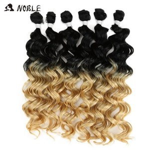 """2020 New Noble Curly Ombre Hair Bundles Bundles Synthetic Hair Curly Weave Curly Hair 6 Pcs 24""""-28"""" Blonde Brown Bundles"""