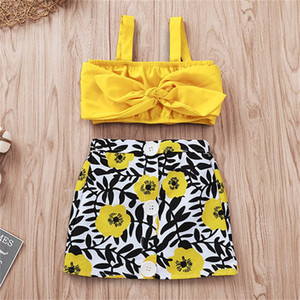Baby Clothes 2PCS Set Kids Suit INS Girls 2019 Suspenders Solid Bowknot Tops Flower Printed Skirts Dress Kids Clothing Q352