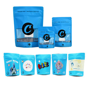 galletas azules bolsas de mylar california sf octavo 3.5g bolsas de plástico huelen regalo a prueba edibles hierba flor seca 420 envases con cremallera bolsa de Mylar