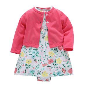 Baby-kleidung Floral Sommerkleid Set Neugeborenen Outfit Säuglingsbekleidung Mantel + strampler Anzug Baumwolle Kostüm 2019 Outfits Mode J190427
