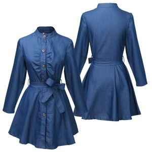 Moda Denim Jean de las mujeres botones de manga larga Tops largos blusa vestido de camisa corta