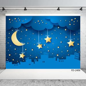 étoiles lune obscurité fond photographique en tissu de vinyle ville pour shooting photo enfants 7X5ft bébé fête studio photo photophone