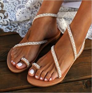 OLOMM Mujeres Sandalias de Verano de Moda de Perla de Bohemia Sandalias de Las Señoras Cadena de Grano de Las Mujeres Chanclas Planas Sapatos Feminino
