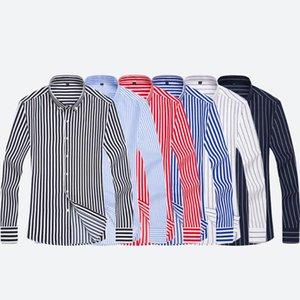قمصان رجالي مخطط جديد طويل الأكمام قمصان لربيع وصيف قمم عارضة قميص ذكر زائد الحجم