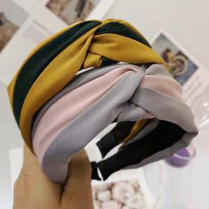 40pcs / lot DIY Çoklu Kumaşlar Basit Kontrast Renk Kafa Tie A Knot Çizgili Çapraz Genişletmede Kafa Grupları Saç Şekillendirme Araçları HA849