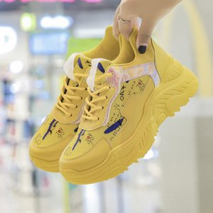Women Chunky Sneakers 2019 Fashion Platform Sneakers Female Wedges Casual Shoes For Woman Basket Yellow Shoes Zapatillas Mujer