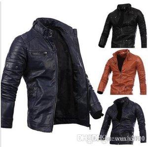 Men Locomotive Coat Leisure Leather Jackets Zipper Casual Jumper Winter Outerwear 2019 new Fashion Overcoat Top Outerwear Men's Clothin