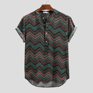 Men's Clothing Vintage Ethnic Printed Turn Down Collar Short Printed Fashion Stand Collar Short Sleeve Loose Shirts Blouse