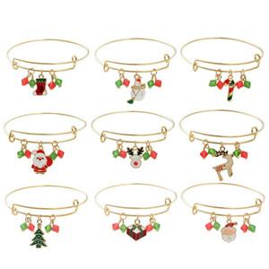 kız için yeni Charms Bilezik Noel ağacı Reindeer Kırmızı Noel Baba Kızak Dangle Charm şeker kamışı kardan adam emaye cazibesi İndirim Takı