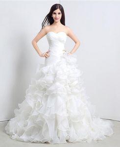 Şık Beyaz Elbiseler fırfır Sevgiliye A Hattı Organze Zemin Uzunluğu Uzun Düğün Gelin Kadınlar Gelinlik Artı boyutu Gowns