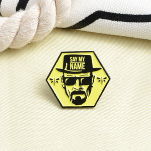 New SAY MY NAME Man Uncle Brooch Beard Sunglasses Punk Man Bee Hexagon Badge Brooch Pin Cowboy Lapel Backpack Hat Gift for Friends