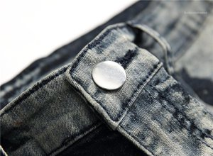 Long Pencil Pants Mid Waist Print Mens Trousers Gray Spots Mens Jeans Trendy Stretch