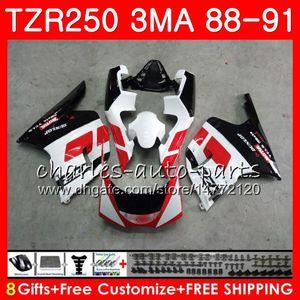 Cuerpo para YAMAHA TZR-250 3MA TZR250 88 89 90 91 118HM.0 TZR250RR TZR250 RS RR YPVS TZR 250 1988 1989 1990 1991 Kit de carenado Fábrica rojo blanco