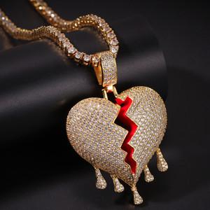 Iced out goccia dell'acqua rotto Cuori collana pendente con la corda catena Oro Argento di colore cubico zircone Hip hop gioielli