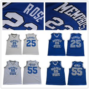 NCAA # 23 Jersey Derrick Rose Memphis State Tigers Penny Hardaway # 25 # 55 Lorenzen Wright Blanc Bleu College Basketball maillots Cousu