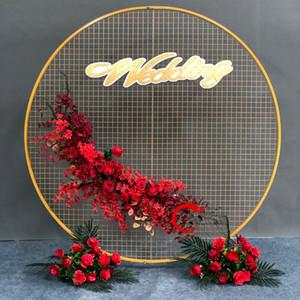 Accessoires de mariage décor de fête d'anniversaire décor en fer forgé cercle rond bagon arc de toile de fond arc pelouse artificielle fleur artificielle rangée table étagère