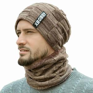 Yeni Kış Erkekler Örgü Şapka Şapka Önlüğü takım Caps Artı Kadife Kalın Yün Şapka Sonbahar Ve Kış Bere czapka zimowa fötr şapka mujer