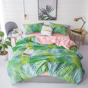 Pastoral de cama de lino Set hojas Juego de cama adultos cama Ropa de cama verde funda nórdica para la plena gemelas sistemas de la cubierta del edredón Rey Queen