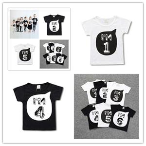 Bebek Çocuk Erkekler Kızlar Kısa Kollu T-shirt ben AM1- 6 Numarası Childs Yaz Tişörtlü Tees Spor Tee Aile Kardeş Bezi D3303 Tops yazdır