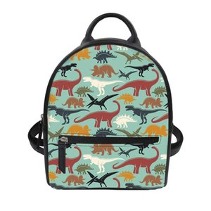 Purple Lilac Dinosaur Women Leather Fashion Backpacks Girl School Bag for Teenager Vintage Bags for Lady Rucksack